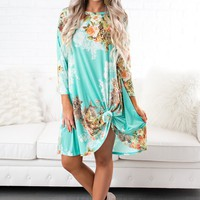 Floral Fever 3/4 Sleeve Shift Dress (Mint)