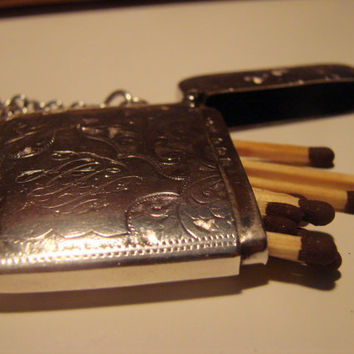 Edwardian Antique Sterling Silver Vesta Case with Chain