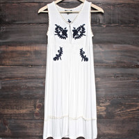 BSIC - acid wash floral embroidery dress - ivory