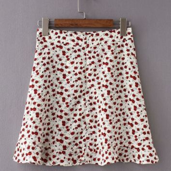Windy and beautiful lotus leaf hem mini floral skirt skirt high waist sexy A-line skirt skirt