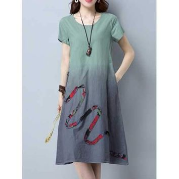 Elegant Gradient Patchwork Short Sleeve O-neck Mid Calf Cotton Casual Dress