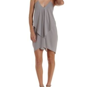 Gray Chain Strap Cascade Shift Dress by Charlotte Russe