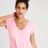 AE Soft & Sexy V-Neck T-Shirt, Neon Pink