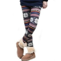 Amazon.com: Women's Knitted Legging Tights Pants Multi-patterns Warm Soft Retro New One Size (Multi-color snowflake): Clothing