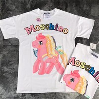 """Moschino"" Women Cute Fashion Multicolor Letter Cartoon Pony Print Oversize Short Sleeve Cotton T-shirt Top Tee"