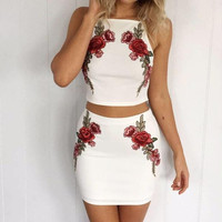 Embroidery Flower Fashion Bodycon Set Two-Piece Mini Dress