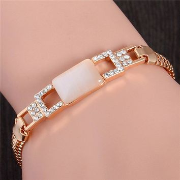 SHUANGR Fashion Gold Color Jewlery Round Cut Austrian Crystal Square Opal Bracelet For Women Gift TL226