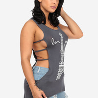 Bonjour! Graphic Tank With Open Sides (Gray)