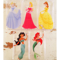 Princess ariel belle jasmine aurora cinderella snow white iphone 4 4s 5 clear case