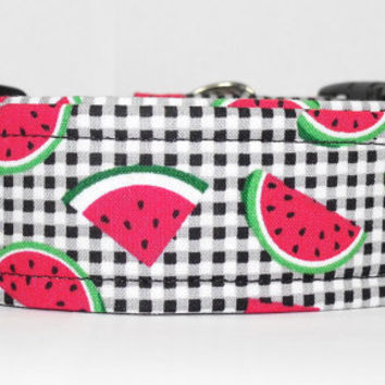 "XL 1.5"" Dog Collar Black and White Plaid with Red and Green Watermelons"