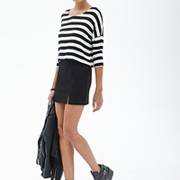 FOREVER 21 Striped Knit Top Black/Cream