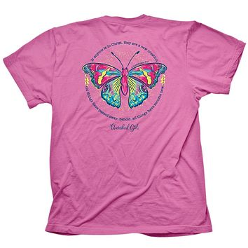 Cherished Girl Butterfly Girlie Christian Bright T Shirt