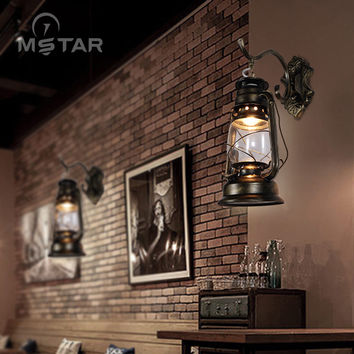 Vintage Industrial Wind Kerosene Lamp Wall Lamp Restaurant Cafe Corridor Balcony Wall Lamp Iron Staircase Wall Lamp