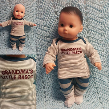 "Baby Doll Clothes to fit 15 inch baby doll BOY ""Grandma's Little Rascal"" 15 inch playset top socks sock pants stripes moose red gray J1"