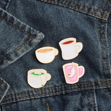 Hot Mini Cartoon Coffee Green Tea Cup with Pink Diving Cat Enamel Pins Brooches Women Jackets Lapel Pin Badges Kids Gift Jewelry