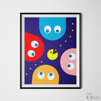 Pacman Poster Retro Video Game Art Print Pac Man Wall Art Arcade Game Digital Printable Cool Posters Geek Decor Gaming Art Print Pac Man Art