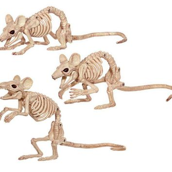Creepy Skeleton Rat Mouse Mice Skeleton Bones for Horror Halloween Party Bar Home Decor Decoration Accessories Decoration
