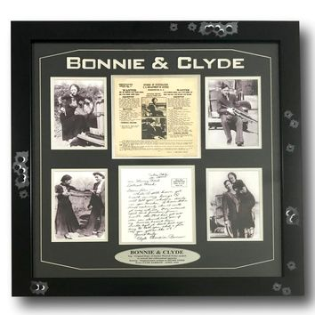 BONNIE & CLYDE AUTHENTIC ORIGINAL WANTED POSTER FRAMED COLLAGE PARKER BARROW DOJ