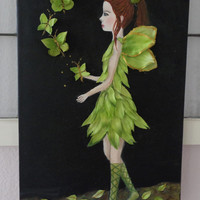 Fairy Painting- Green Girls Room Decor- Original Mixed Media- Acrylic on Canvas- 12 X24 inches