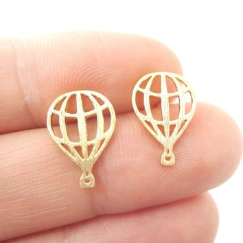 Miniature Hot Air Balloon Outline Cut Out Shaped Stud Earrings in Gold | DOTOLY