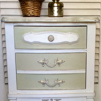 White/Green French Provincial Nightstand 1950s