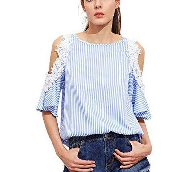 Romwe Womens Tee Shirt Lace Applique Open Shoulder Keyhole Back Striped Blouse Top