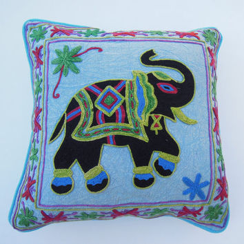 Ethnic Cotton Cushion Cover, Suzani Elephant Embroidered Pillow, 16 By 16 Inches, Indian Cushion Cover, Designer Suzani Embroidery Work