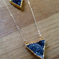 Purple Drusy Triangle Necklace, Purple Amethyst Necklace, Long 14kt Chain, Purple Druzy Triangle Pendant, Stone Choker, Layering Jewellery