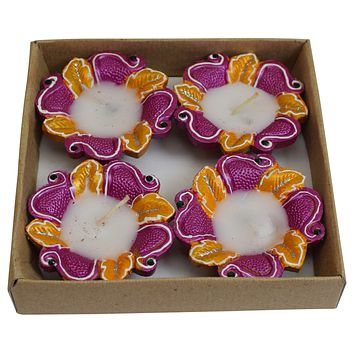 Diwali Decorative Clay Diya 4 Piece Set Traditional Oil Lamp Indian Festival Celebration Gift
