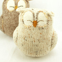 Sleepy Owl Natural White Felted Wool Lamb Wool by ForMyDarling