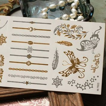 Butterfly Henna Temporary Tattoos in  Silver & Gold