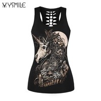 2017 New Camis Women Summer Tank Tops Sexy Club Tank Harajuku Style Tees Black Unicorn 3D Print Skull Vests Hollow Back Shirts