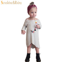 Ins* Autumn Casual Long Sleeve Girls Striped Dress Cotton Children Baby Clothing Toddler Girl Clothes Kids School Wear Dress