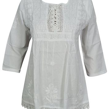 Women's Summer White Tunic Blouse Handmade Embroidered Cotton Kurti: Amazon.ca: Clothing & Accessories