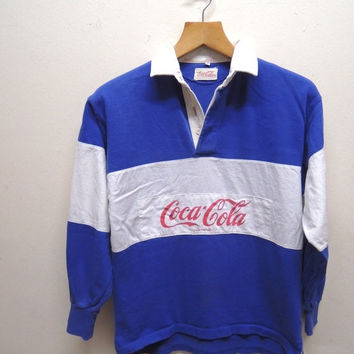 15% CRAZE SALE Vintage 90's Coca Cola Coke Rugby Wear Stripe Long Sleeve Polos Sport Wear