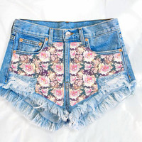 Floral Lush | Vintage Inspired Frayed High Waisted Denim Shorts
