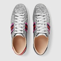 GUCCI Ace Silver Glitter Low-top Sneaker