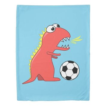 Blue Funny Cartoon Dinosaur Soccer Kids Duvet Cover