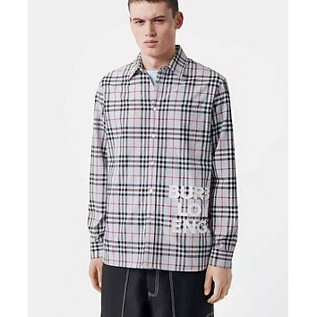 Burberry Fashion New Letter Plaid Women Men Long Sleeve Top Shirt