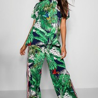 Penny Palm Print Top & Trouser Co-ord | Boohoo