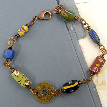 Coin Bracelet,  Copper Beaded Bracelet, Colorful Bead Wire Wrapped Global Chic Jewelry