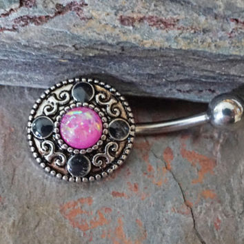 Opal Belly Button Rings Pink Opal Tribal Belly Button Jewelry