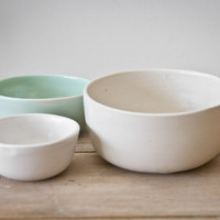 Set of 3 nested ceramic bowls hand made by Clam Lab by Clam Lab | Madesmith