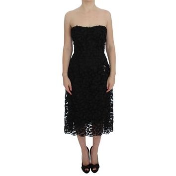 Dolce & Gabbana Black Floral Lace Shift Midi A-Line Dress