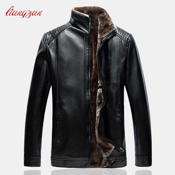 Men Leather Fleece Jackets Coats Brand Winter Male Slim Fit Big Size L-5XLStand Collar Motorcycle Trench Coats Clothes SL-K183