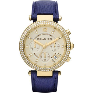 Michael Kors Women's MK2280 Parker Goldtone/ Navy Leather Watch | Overstock.com Shopping - The Best Deals on Michael Kors Women's Watches