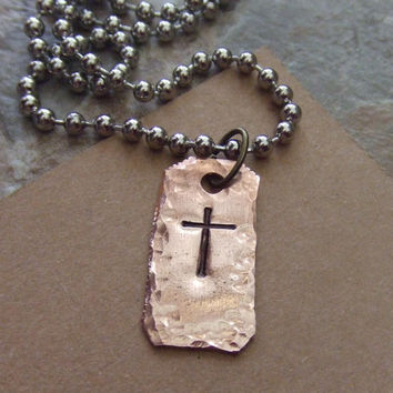 Men's Rugged Cross Necklace  - First Communion Confirmation Baptism - Handstamped Rustic Copper Cross