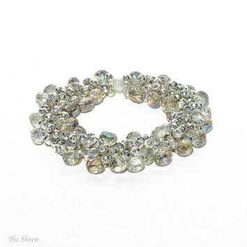 Champagne Quartz Bracelet / Silver Pyrite Cluster / Mystic Teardrops / Sterling Silver / Statement Jewelry / Bridal / Gifts For Her / OOAK