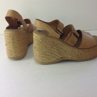 CANDIE's High Heel Wedge Strappy Leather Sandal Vintage 90s size 9