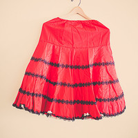 50's Retro Red  & Black  Lace Vintage Petticoat Collonial Lady  Tulle layered  skirt slip Dress Party Dress Size Small